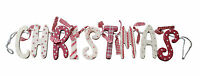 Christmas Wooden Garland Red and Cream Vintage Shabby Chic Style Decoration New