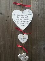 Handmade Personalised Plaque Hanging Hearts Wedding Engagement Present Gift