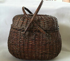 Vintage Wicker Basket/Purse/Fishing  with Double Swinging Handles
