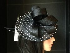 LADIES BLACK ASCOT WEDDING HAT FORMAL FASCINATOR  DISC MOTHER OF THE BRIDE