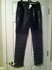 Chanel 12A NEW TAGS Black Leather & Multicolor Tweed pants Lining FR40 $7.4K