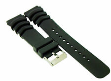 22mm Black Resin Replacement Band Strap For Seiko Diver's & Marine Gear Watch
