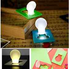 Small Cute Portable Pocket Wallet Credit Card Size LED Night Light Lamp Bulbs hy