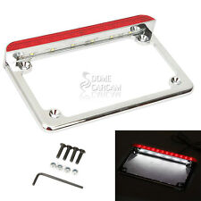 Chrome LED License Plate Frame Tail Brake Light For BMW KTM Ducati Motorcycle