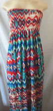 BLUE CREAM RED WAVY LOOK PRINT SUMMER ELASTIC DRESS MAXI LONG STRAPLESS MEDIUM