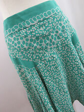 MARC JACOBS Green Gray Silk Printed A Line Flare Circle Skirt Size 4 EUC