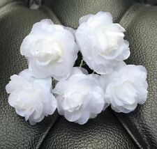 5 Bridal Wedding White  Rose Flower And Hair Pins Clips Grips handmade
