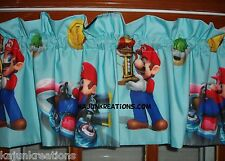 Custom Lined VALANCE with super MARIO mariokart 8 movie CHARACTER game FABRIC