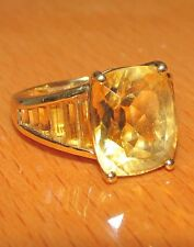 STUNNING SECONDHAND LARGE 9CT YELLOW GOLD OBLONG CITRINE SIGNET RING SIZE K