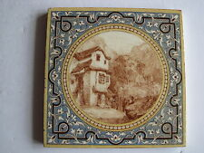 ANTIQUE VICTORIAN MINTONS SCENIC VIEWS (HOUSE & MOUNTAINS) SERIES TILE  c.1890