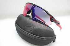 NEW OAKLEY RADAR EV PATH SUNGLASSES | POLISHED BLACK / + RED IRIDIUM 9208-21
