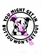 VINYL DECAL STICKER YOU MIGHT GET IN...PITBULL DOG...FUNNY...CAR TRUCK WINDOW