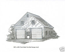 30 x 36 2 Stall FG Garage Building Blueprint Plans w/Loft