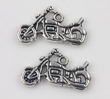 10pcs Tibet Silver Motorcycle Spacer Bead Pendant Charm Jewelry Finding 14x25mm