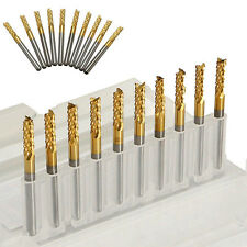 "10x 3.175mm Carbide End Mill 1/8"" Shank Titanium Coated CNC PCB Engraving Bit"