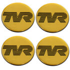 TVR Black Logo Gold B/G Self Adhesive Set of 4 Gel Wheel Centres Choice of Sizes