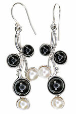 Hagit Sterling Silver Black Onyx and Cultured Pearl Dangle Earrings