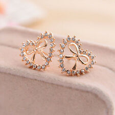 New Arrival Natural Diamond Hollow Heart with Bow Stud Earrings Best Gift