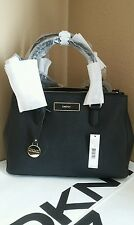 NWT DNKY Saffiano Leather Double Zip Satchel black $250.00