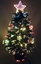 24 Inch Green Fibre Optic Stars & Bauble Christmas Tree - Black Base (FO24SB)