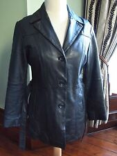 Ladies Women's Black Leather Jacket Coat Size 14 Leather Belt