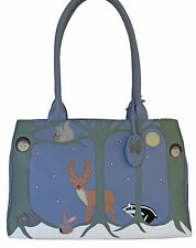 45% OFF CICCIA CAT FOREST FRIENDS BLUE LEATHER SHOULDER BAG RRP £130
