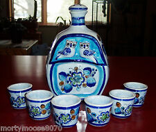 TALAVERA BLUE DECANTER & 6 CUPS VINTAGE 1960'S HAND SIGNED CAT MEXICO BEAUTIFUL!