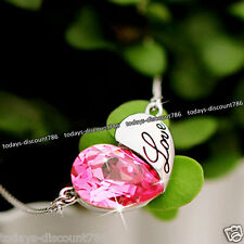 Love Heart Pendant Necklace Crystal Chain Gifts For Her Mother Girlfriend Women