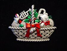 """JJ"" Jonette Jewelry Silver Pewter 'Christmas Basket of Toys' Pin"