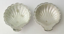 Vintage Silverplate Set of 2 Shell Shaped Butter Dish, Glass Insert, England