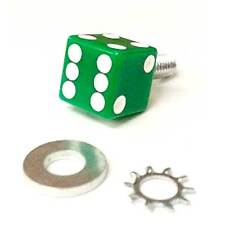 """Real Dice """"Green & White Dot"""" Bolt for Harley Seat Mounting to Rear Fender"""
