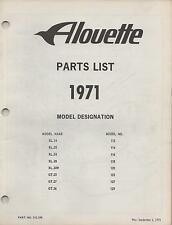 1971 ALOUETTE SNOWMOBILE (SEE COVER LIST) P/N 210.298 PARTS  MANUAL (587)