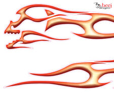 Skull Flames - 300 x78mm ea (2 in set) decals - car ute truck body or windows