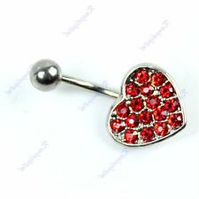 Red Heart Jewelry Crystal Surgical Steel Navel Belly Button Ring Body Piercing