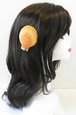 Orange Real Sea Shell Hair Clip Mermaid Beach Costume Fancy Dress Halloween T47