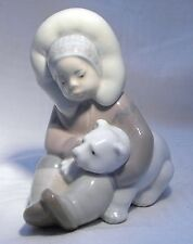 LLADRO FIGURE 1195  ESKIMO PLAYING WITH POLAR BEAR CUB RETIRED