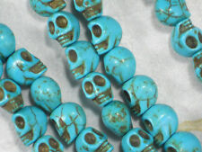 20 Small Skull Beads Turquoise Blue Howlite 10mm Day of the Dead Halloween #5607