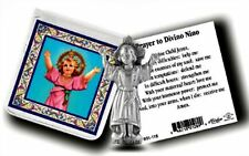 Divino Nino Metal  Pocket Statue w/ Prayer Card Dvine Child Jesus NEW!