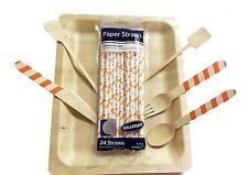 Disposable wooden cutlery and plates - 24 ea- Tailgate Kit Tennessee Vols