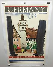 Original vintage travel poster United States Lines Germany Ervine Metzl 1929