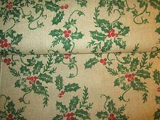"Burlap Holly Berries Christmas 100% Jute Tan Fabric BTYx47""w"