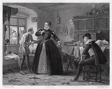 "Striking HENRY STACY MARKS Antique 1800s Engraving ""The Royal Tailor"" SIGNED COA"