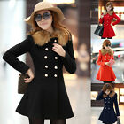 Women's Slim Fit Double Breasted BODYCORN Wool Blends Basic Red Blue Trench Coat