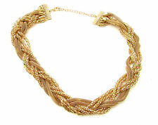 Gold Plaited Chain Necklace Boho Grecian Festival Braided Celebrity Vintage B71
