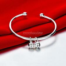 Bracelet Cuff Wristband Bangle Women's Bell Pendant Charm 925 Silver Plated