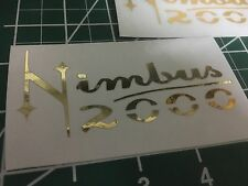 Prop size Gold Chrome Harry Potter Nimbus 2000 Vinyl Broom Sticker Magic