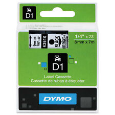 """Dymo 1/4"""" (6mm) Black on Clear Label Tape for Dymo Pocket D1 Labels"""