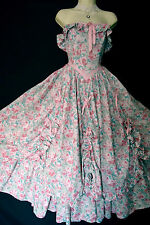 VINTAGE LAURA ASHLEY PINK ROSE SOUTHERN BELLE BALLGOWN CRINOLINE HITCH DRESS,6,8