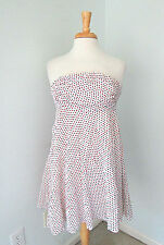 J Crew strapless bustier babydoll dress white pique red blue polka dots Sz 2