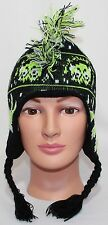 ALTHLETECH, BLACK WITH GREEN DESIGN, KNIT HAT, FRINGED MOHAWK, SMALL 4-7, GUC!